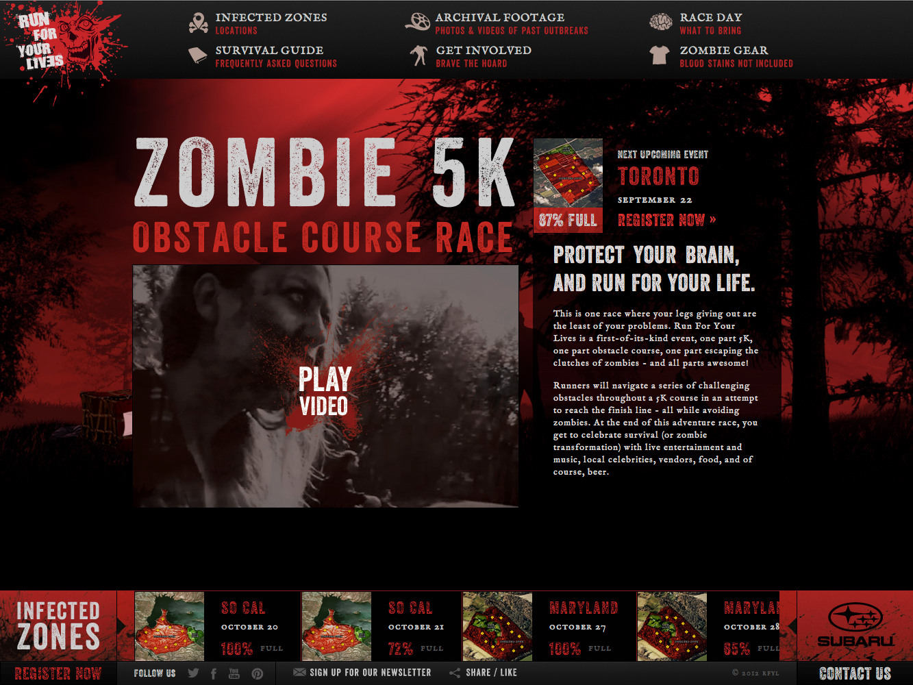 Run for your Lives Website Screenshot