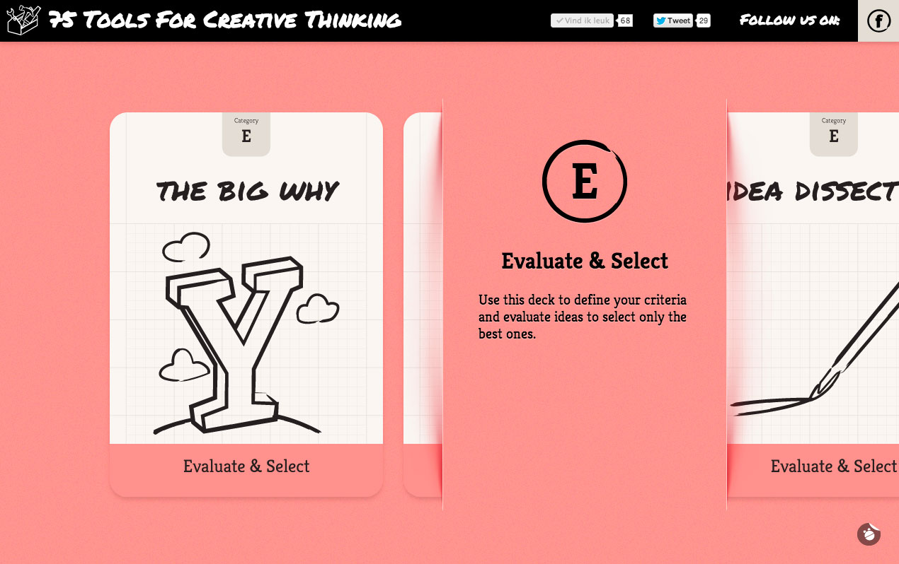 75 Tools For Creative Thinking Website Screenshot