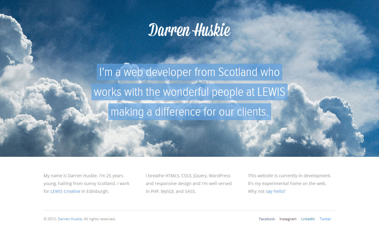 Darren Huskie Website Screenshot