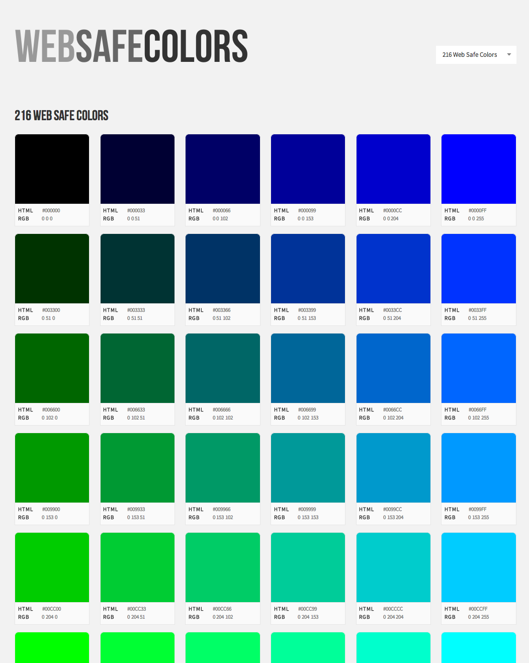 Web Safe Colors Website Screenshot