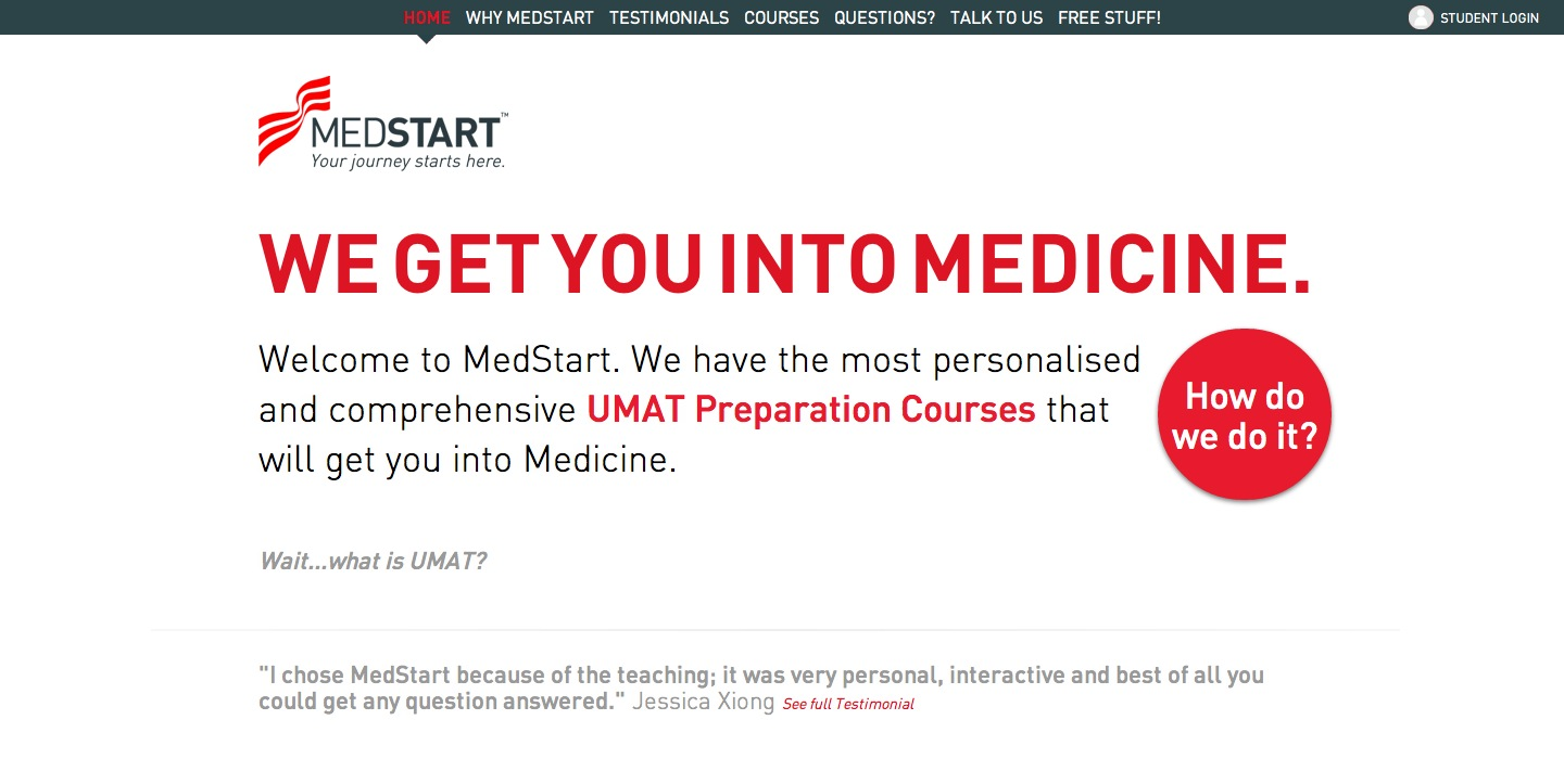 MedStart UMAT Preparation Website Screenshot