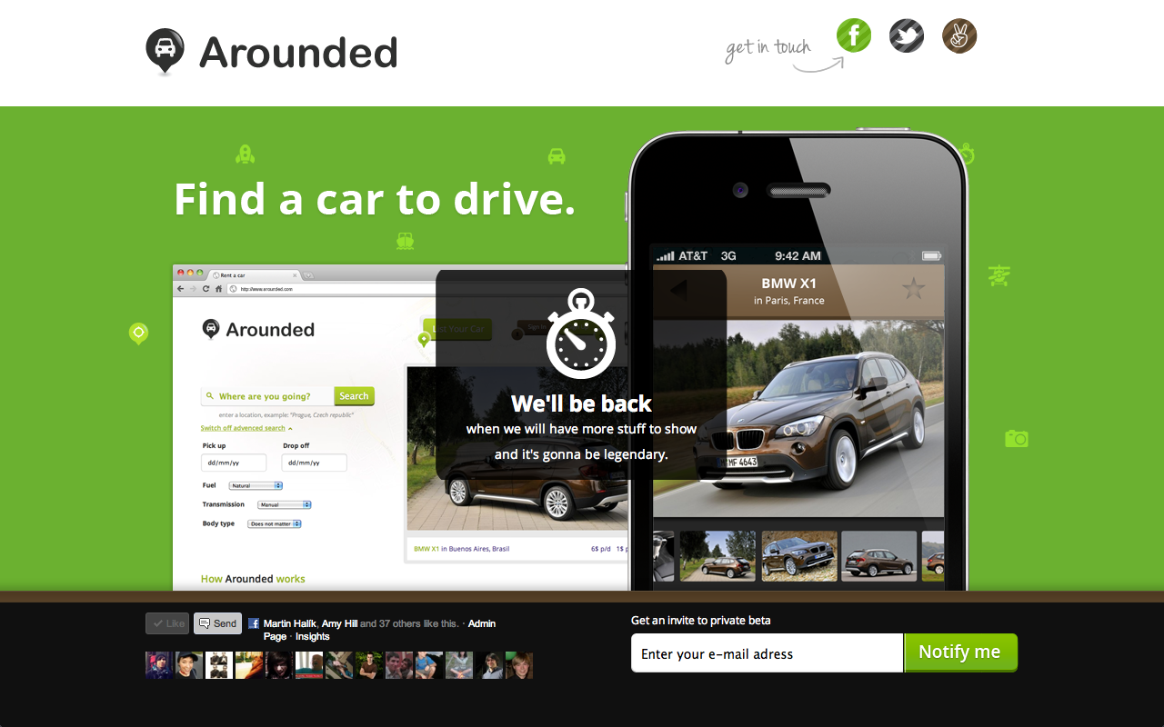 Find a car for rent – Arounded Website Screenshot