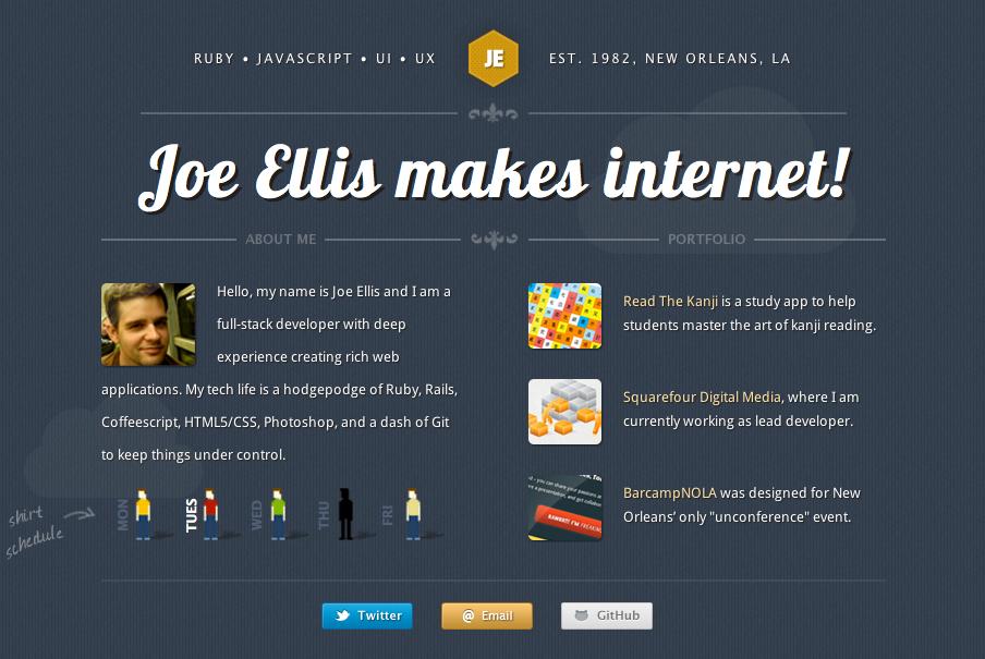 Joe Ellis Website Screenshot