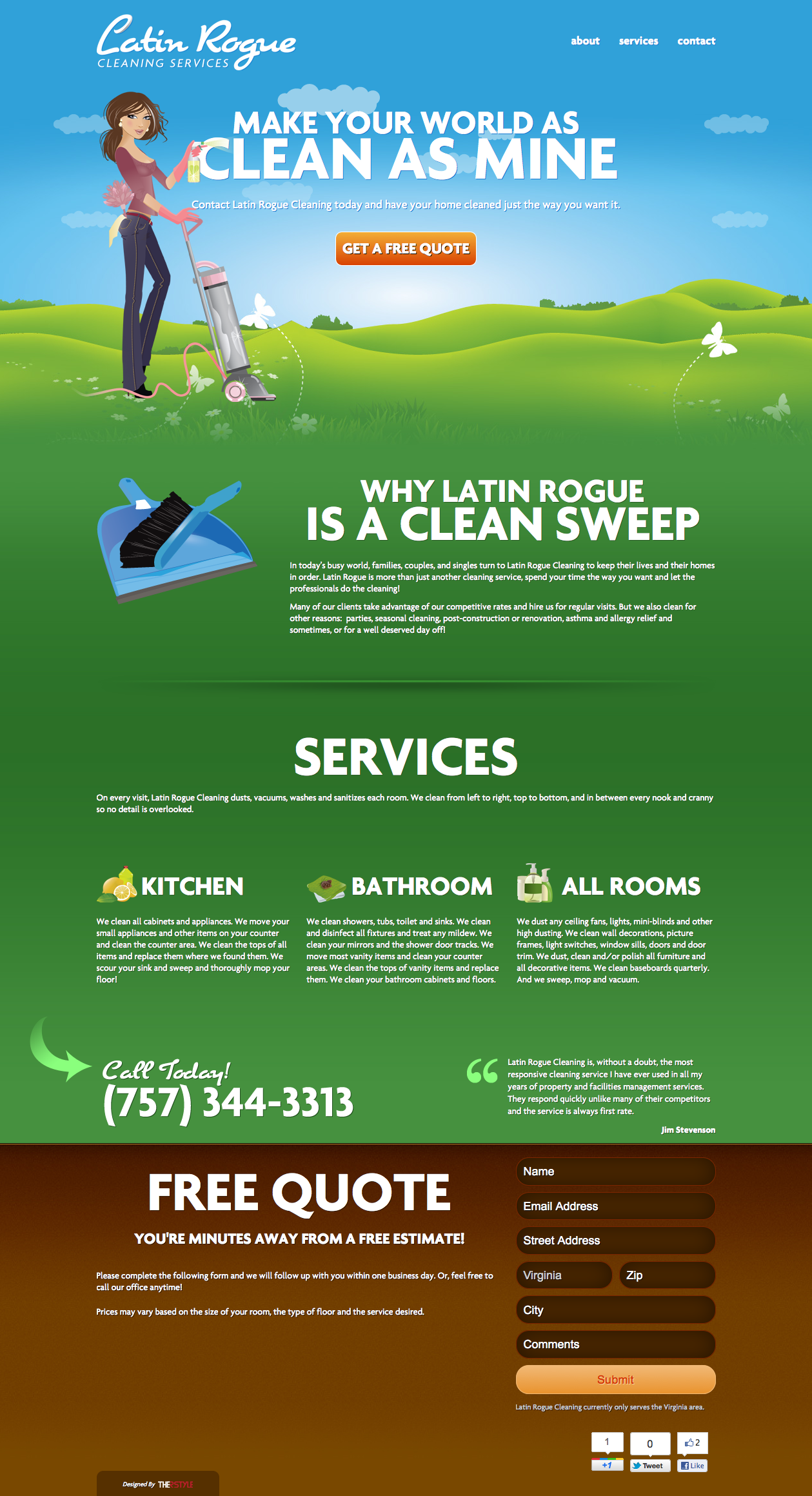 Latin Rogue Cleaning Services Website Screenshot