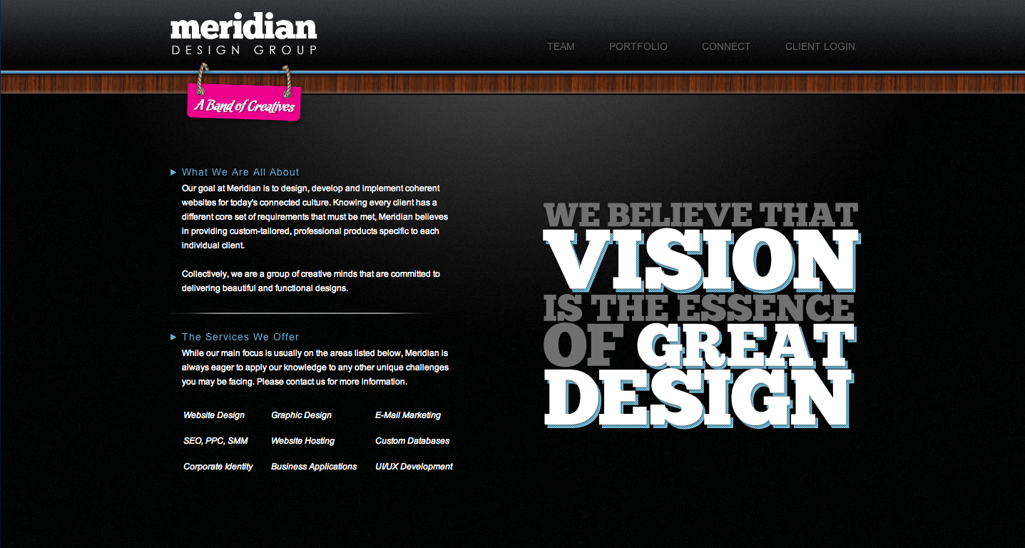 Meridian Design Group Website Screenshot