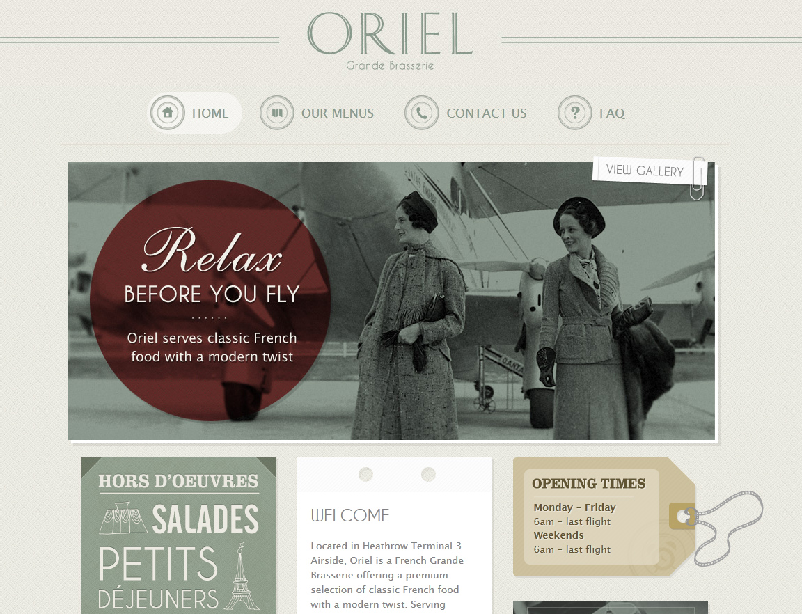 Oriel Restaurants Website Screenshot