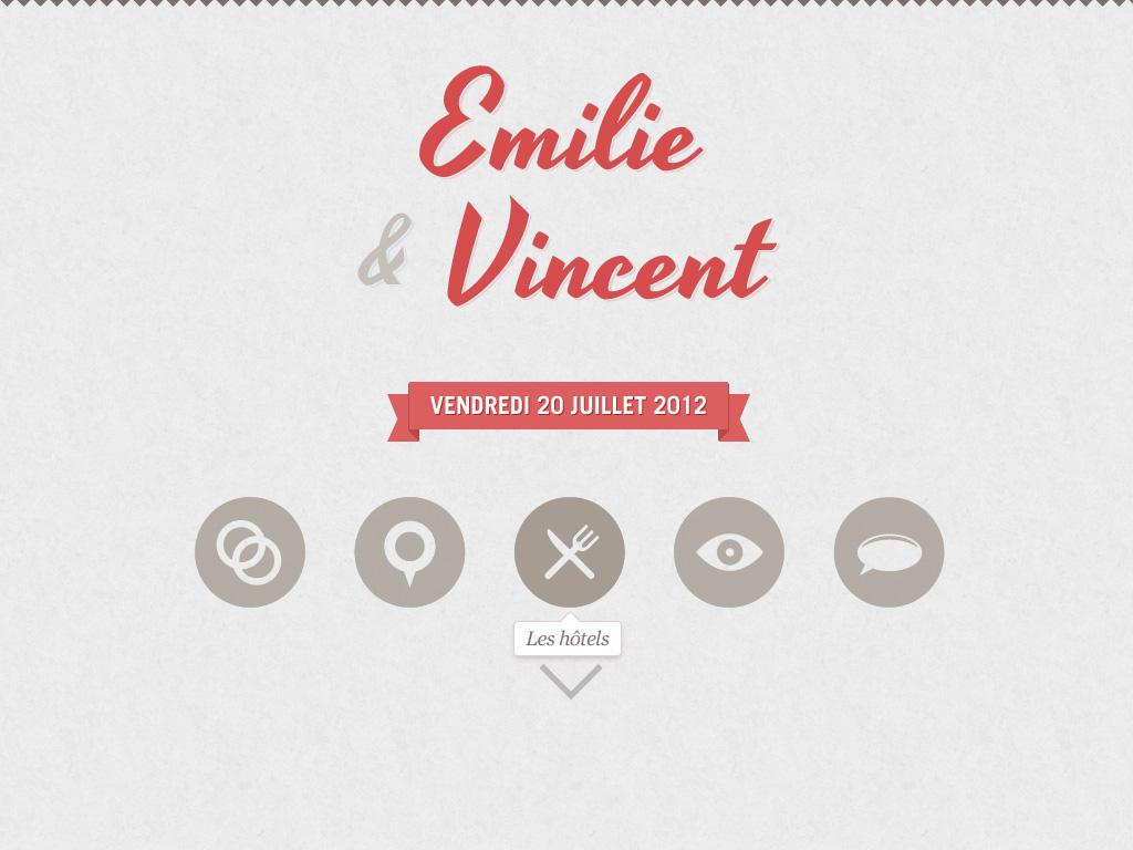 Emilie & Vincent's Wedding Website Screenshot