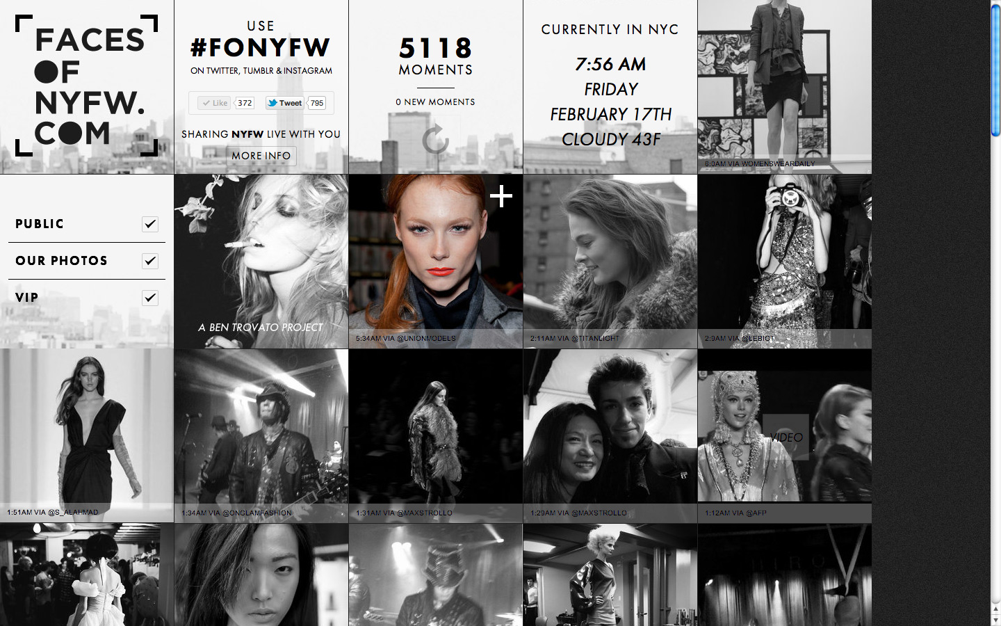 Faces Of New York Fashion Week Website Screenshot