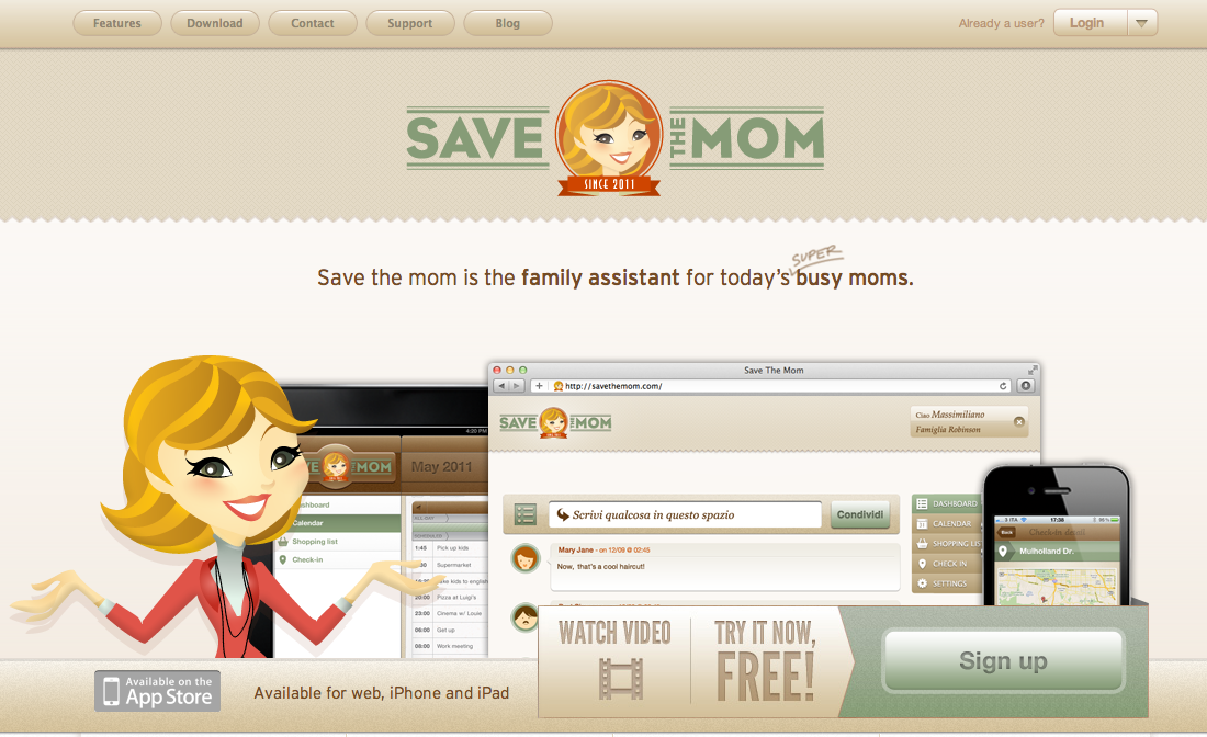 Save The Mom Website Screenshot