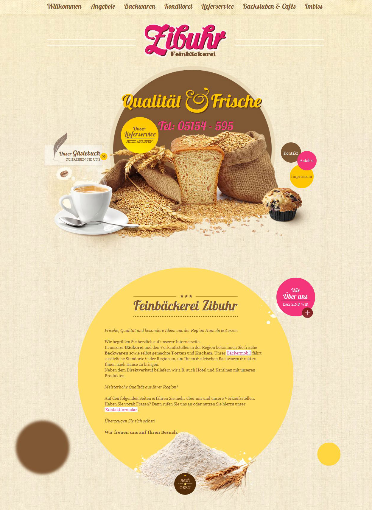 Feinbäckerei Zibuhr Website Screenshot