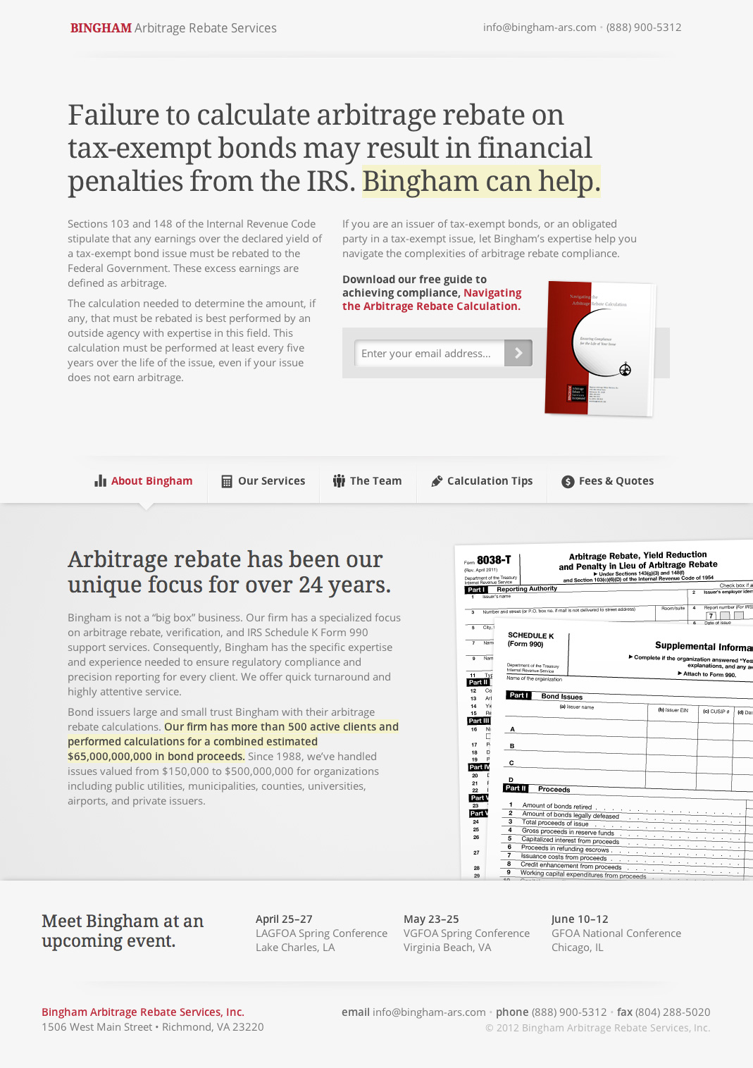 Bingham Arbitrage Rebate Website Screenshot