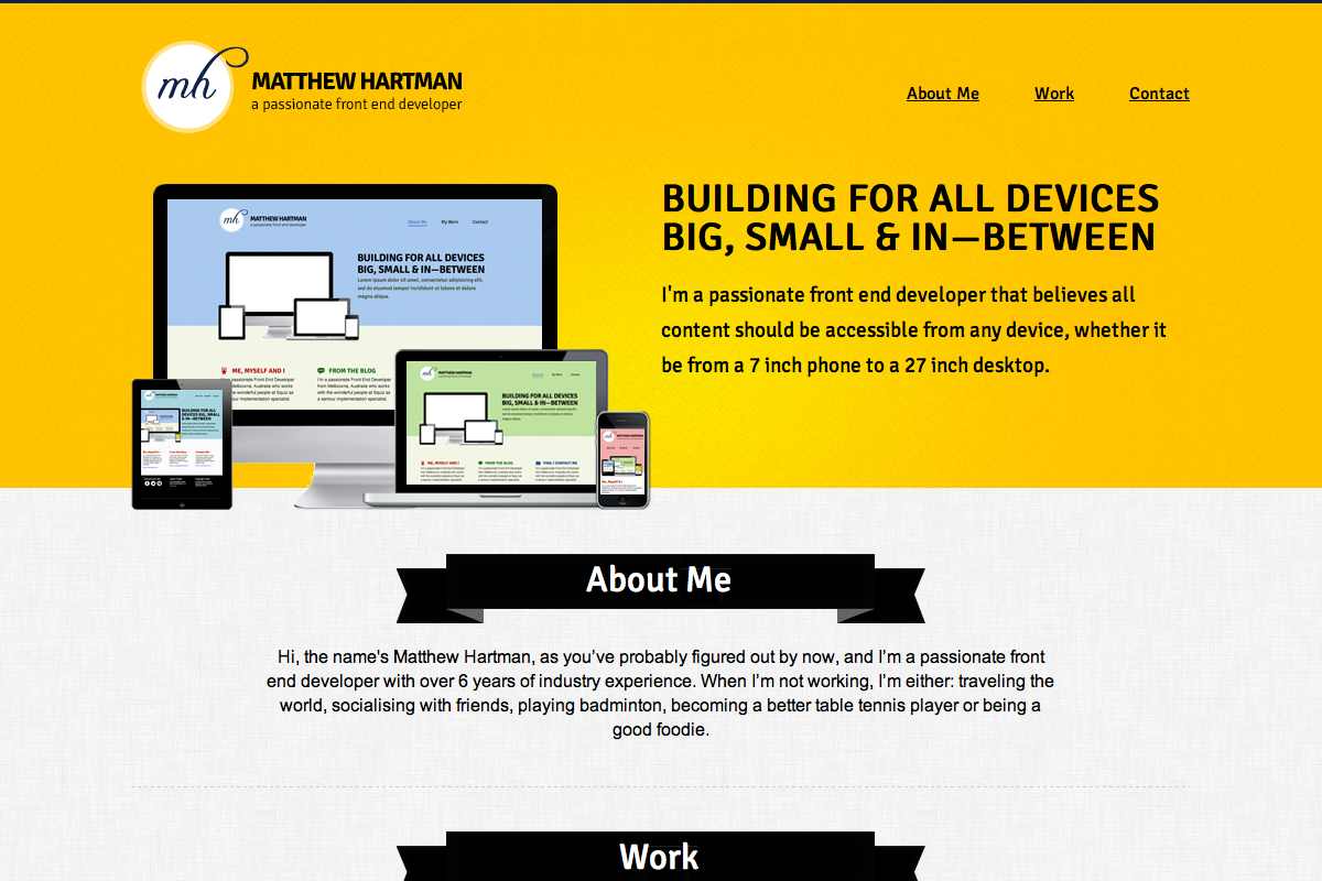 Matthew Hartman Website Screenshot