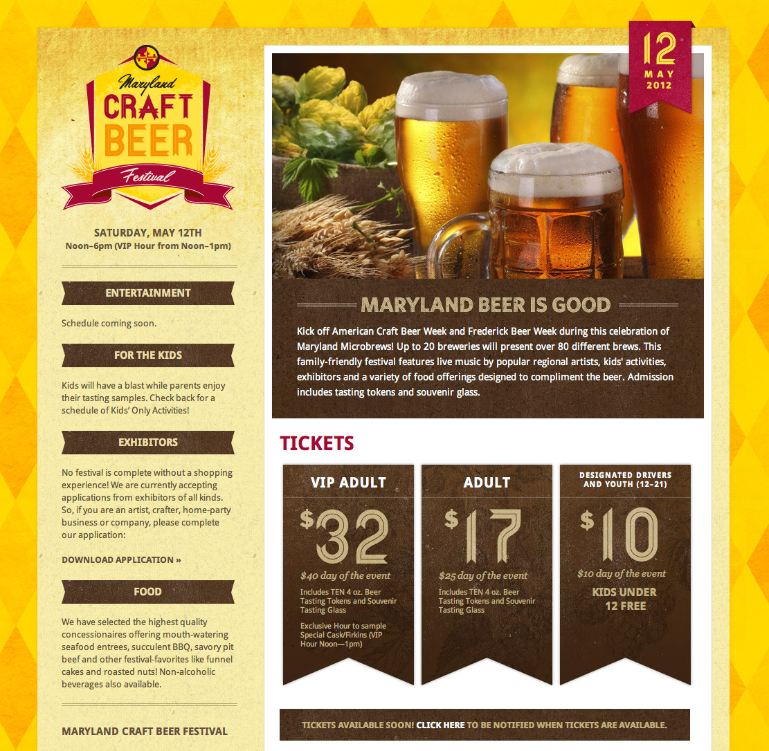Maryland Craft Beer Festival Website Screenshot