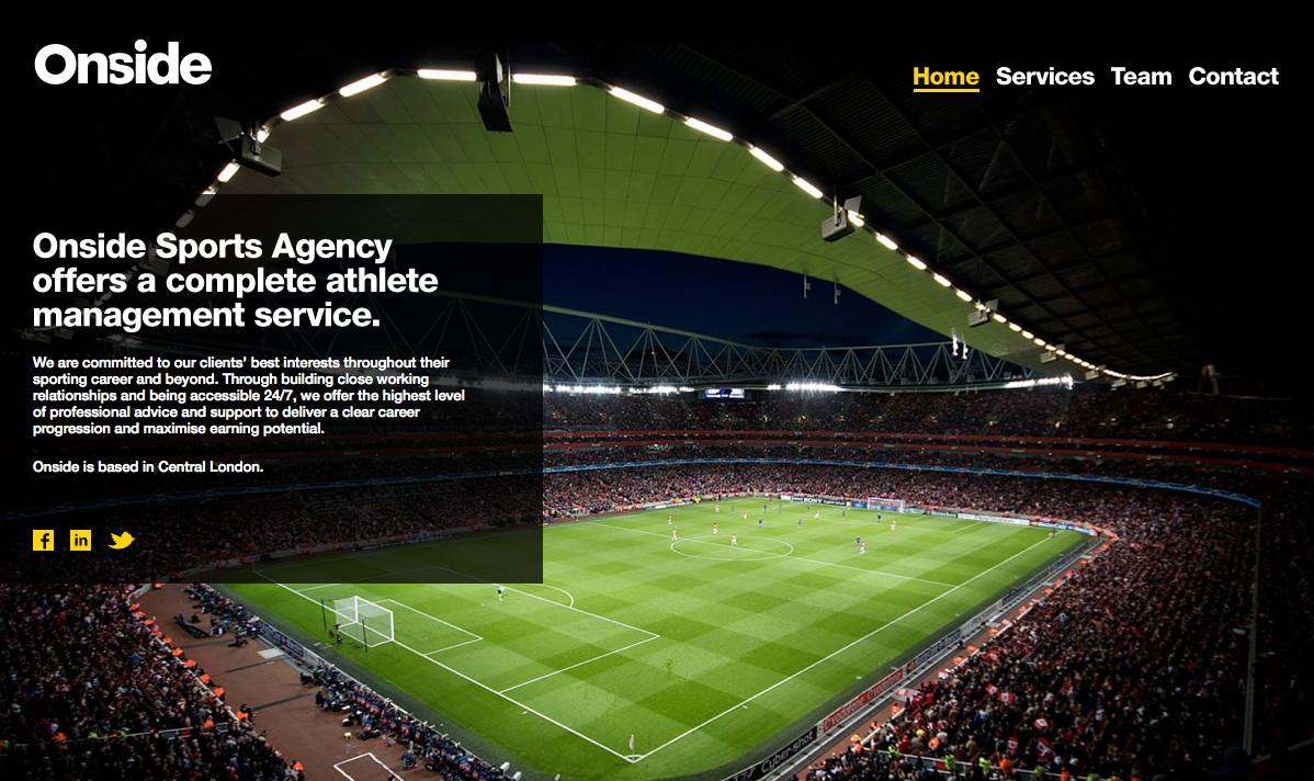 Onside Sports Agency Website Screenshot