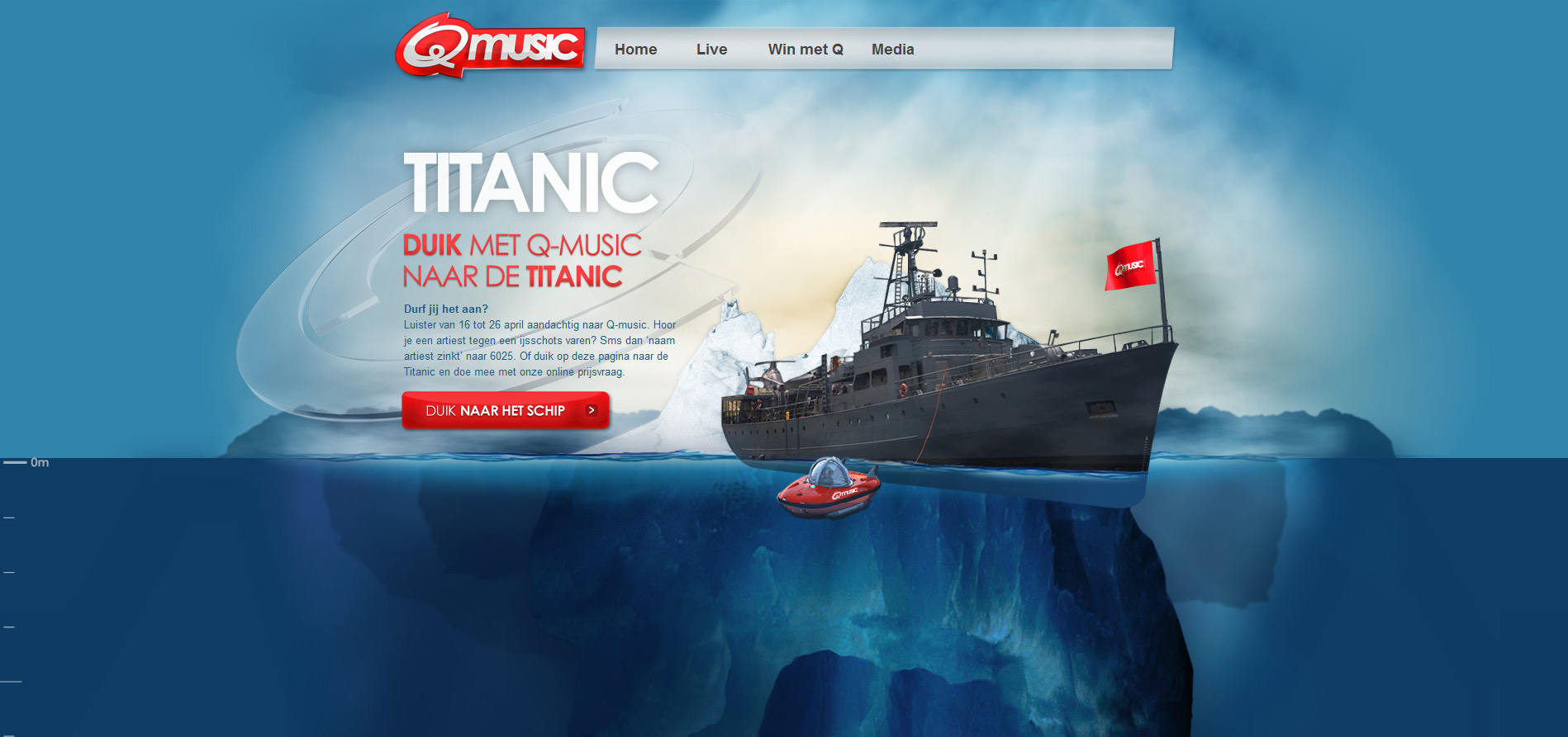 Q music Titanic Website Screenshot