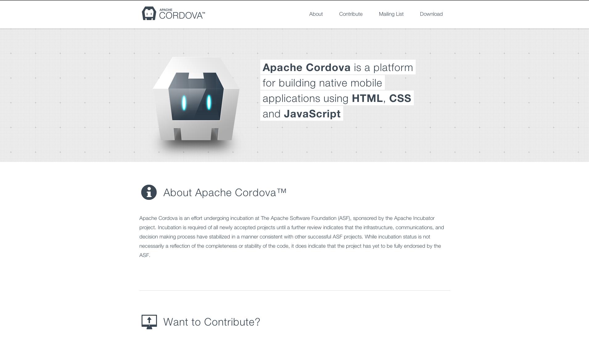 Apache Cordova Website Screenshot