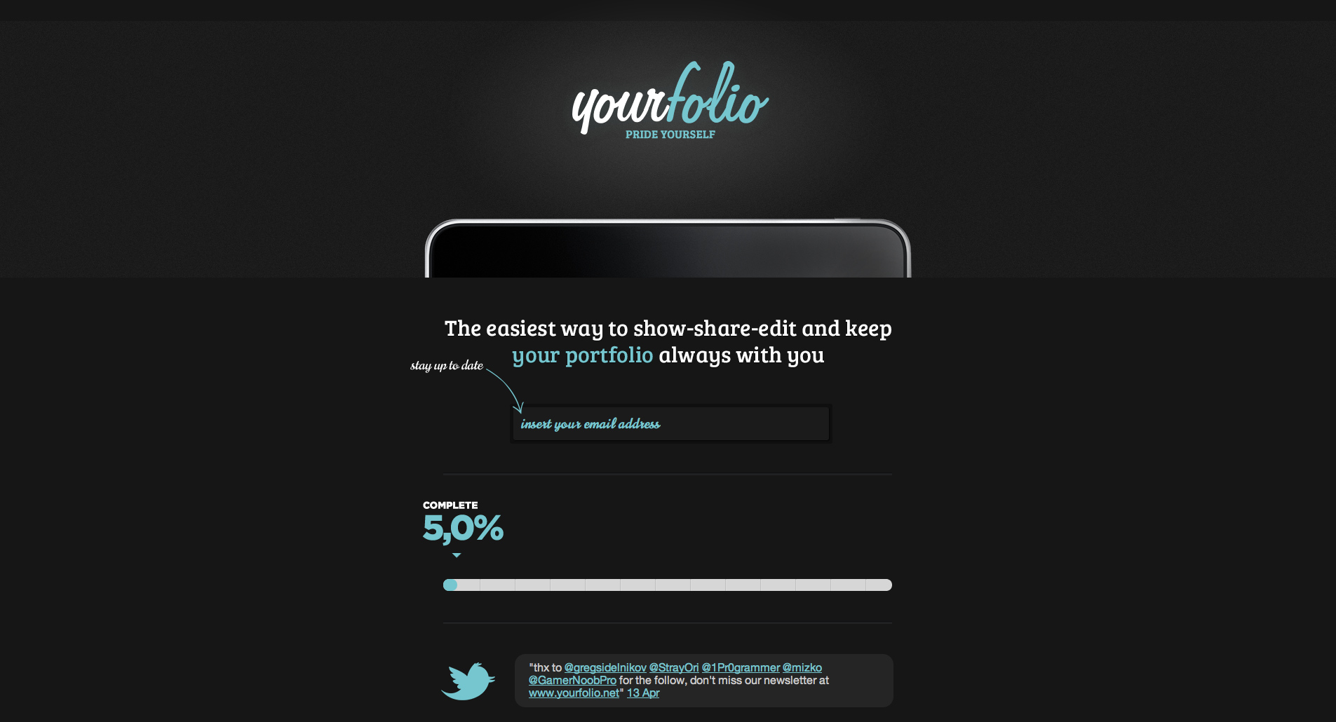 yourfolio Website Screenshot