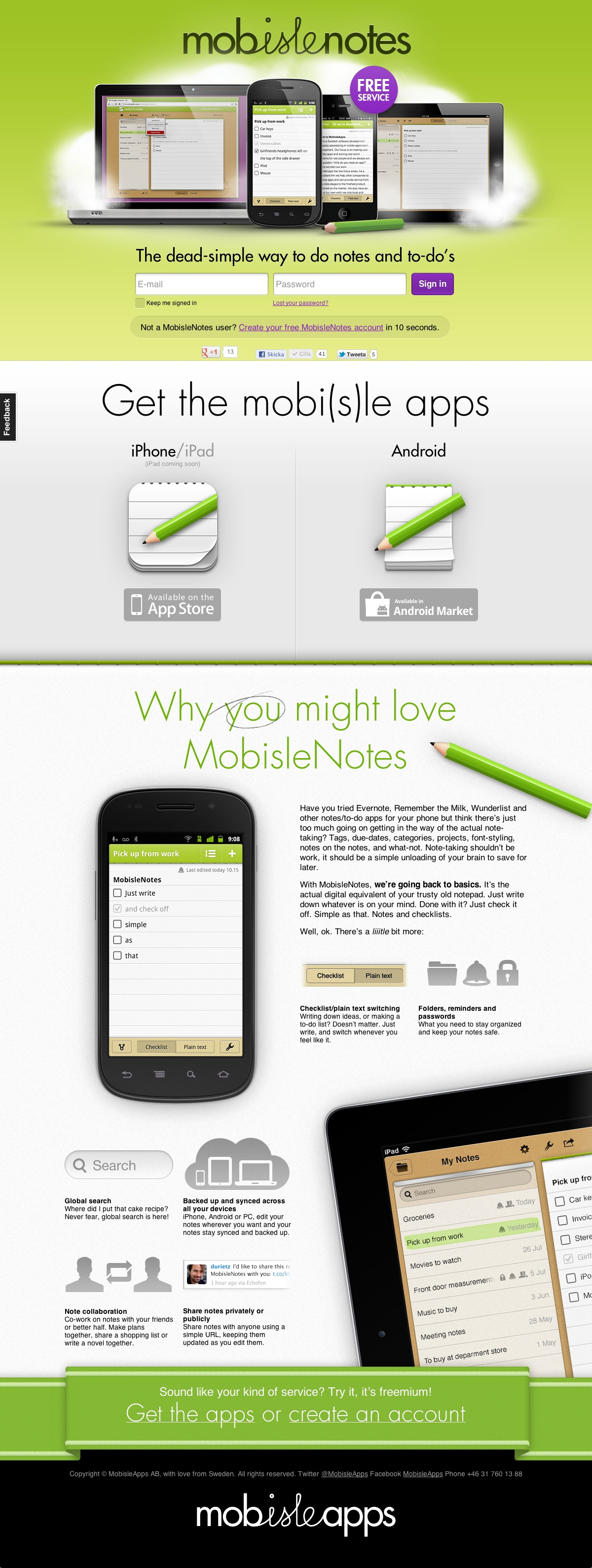 MobisleNotes Website Screenshot