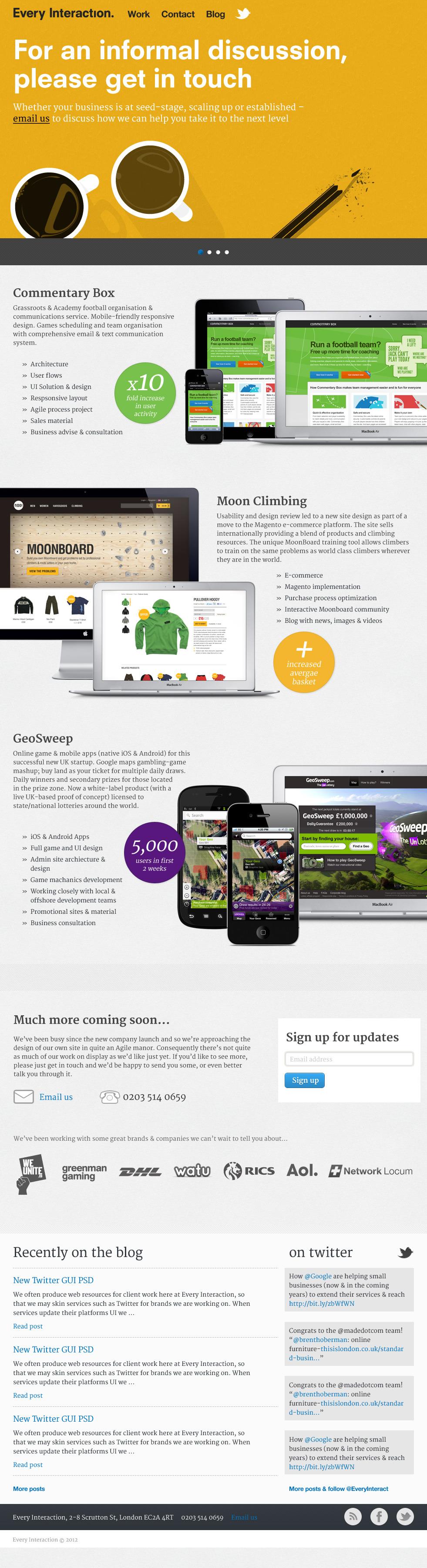 Every Interaction Website Screenshot