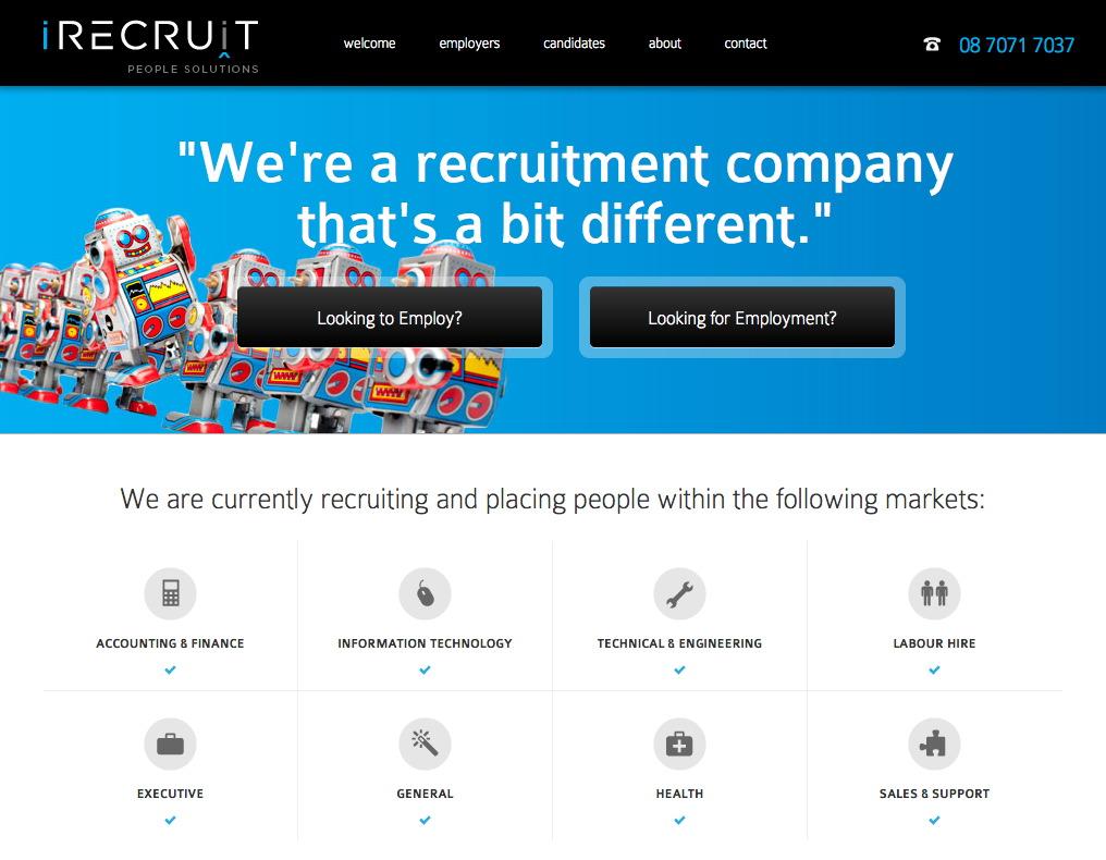 iRecruit Website Screenshot