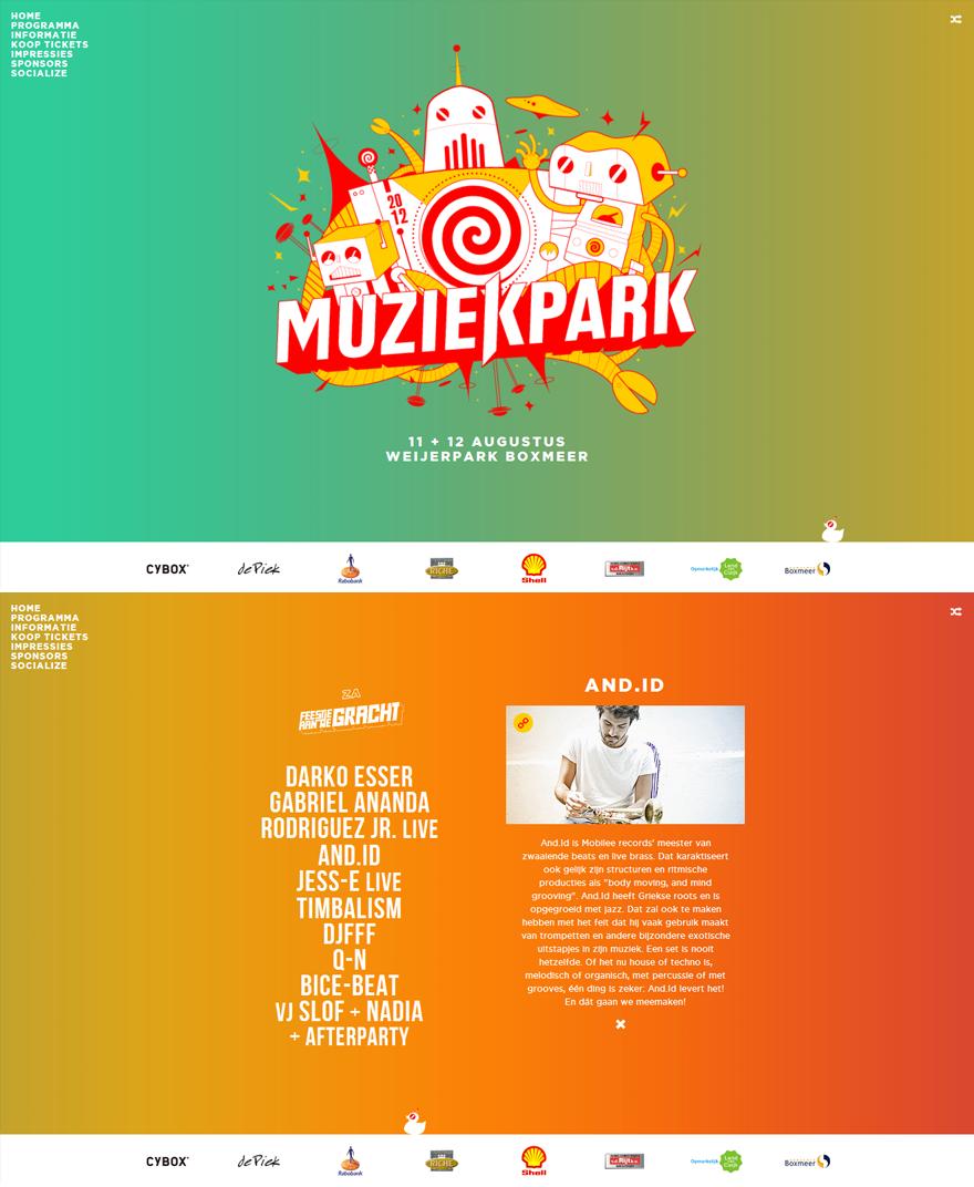 Muziekpark 2012 Website Screenshot