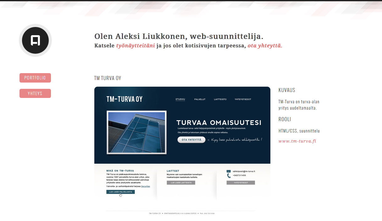 Aleksi Liukkonen Website Screenshot