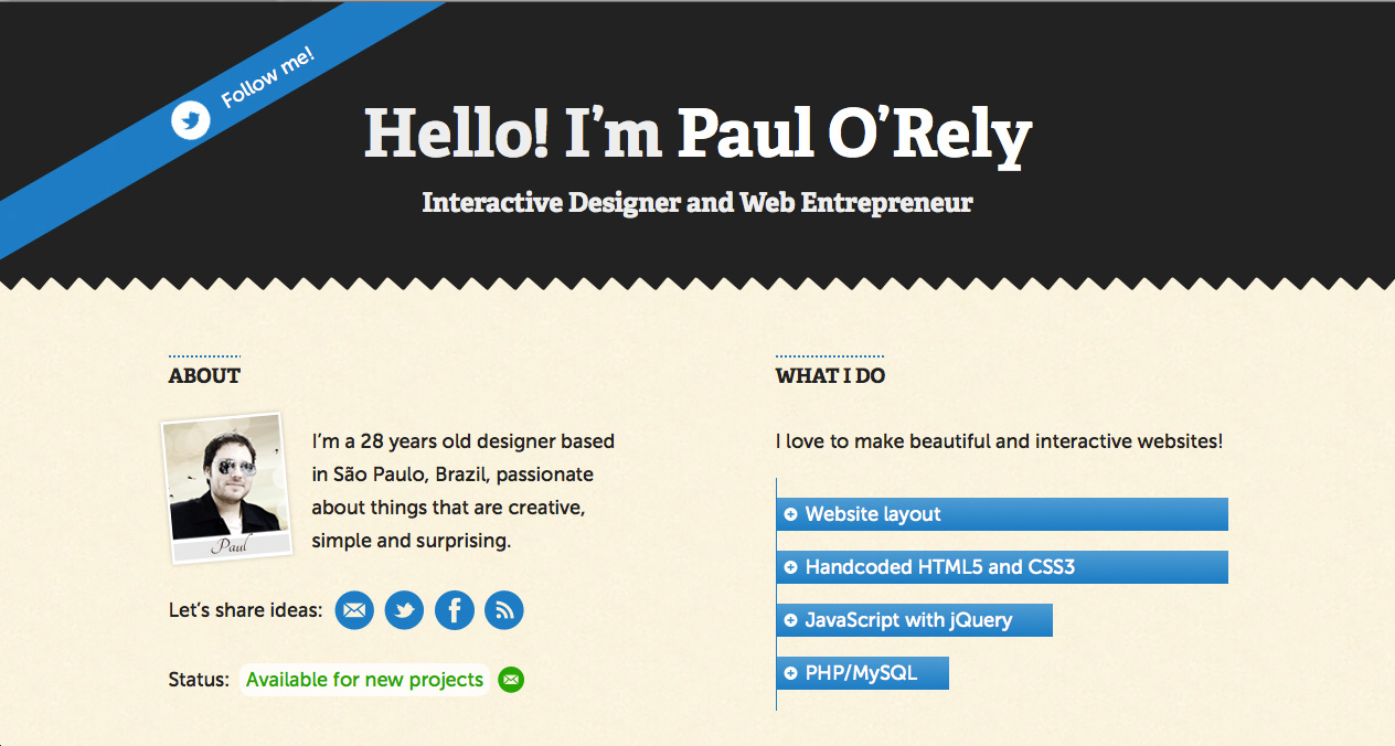 Paul O'Rely Website Screenshot