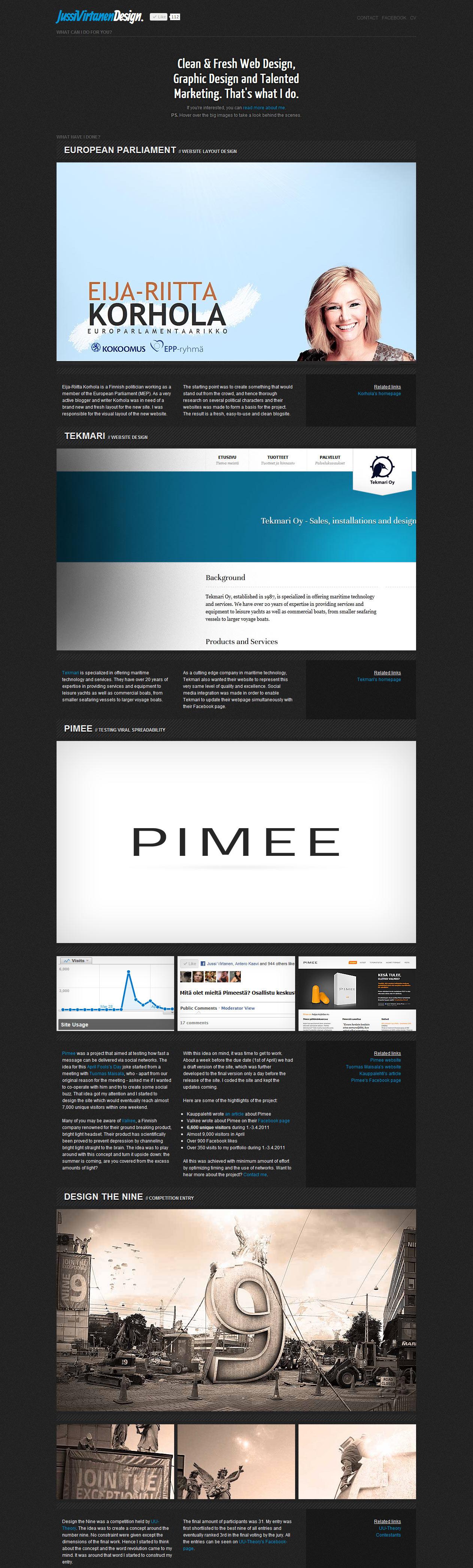 Jussi Virtanen Design Website Screenshot