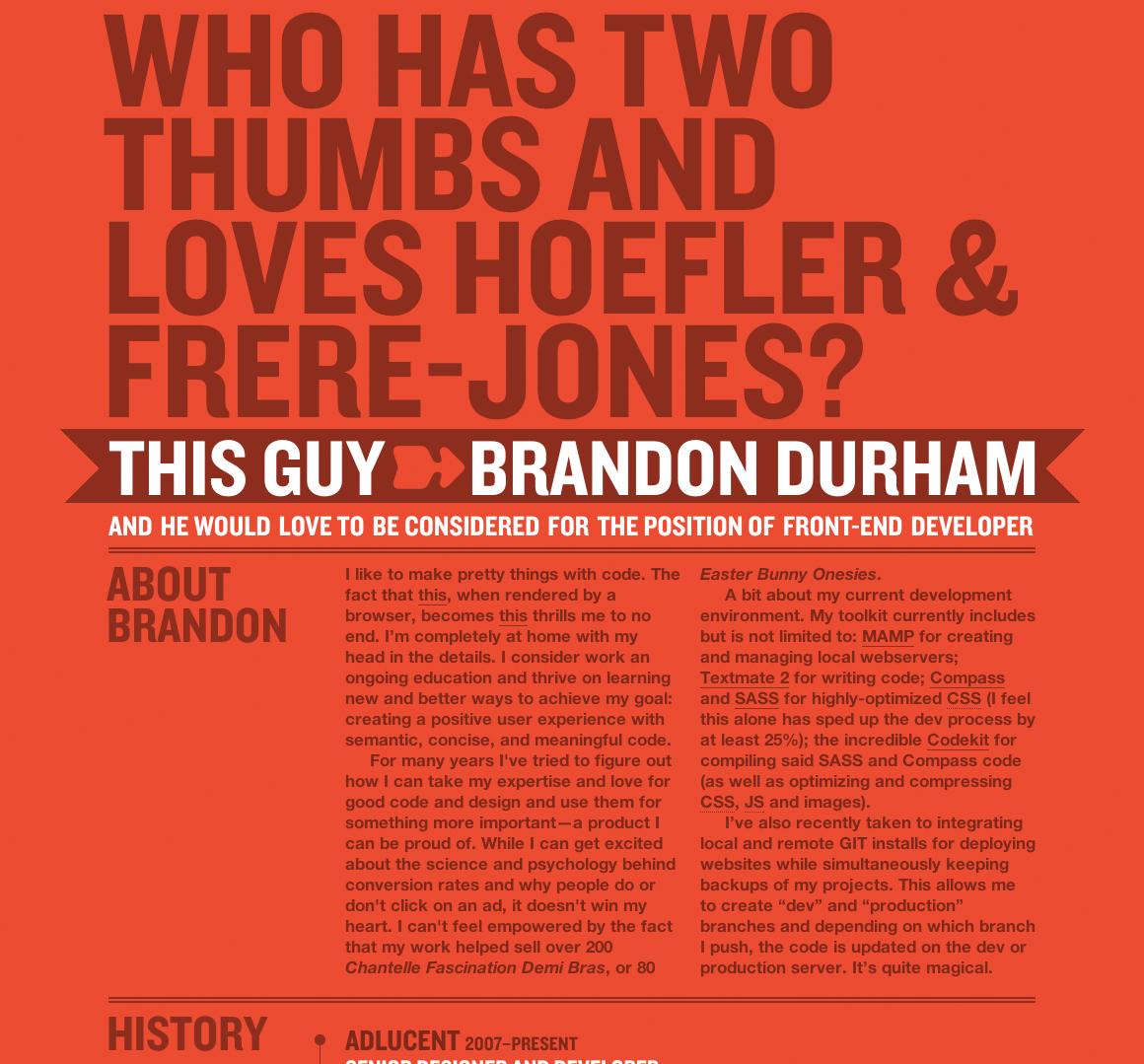 Hoefler & Frere-Jones + Brandon Durham = Pure Magic Website Screenshot
