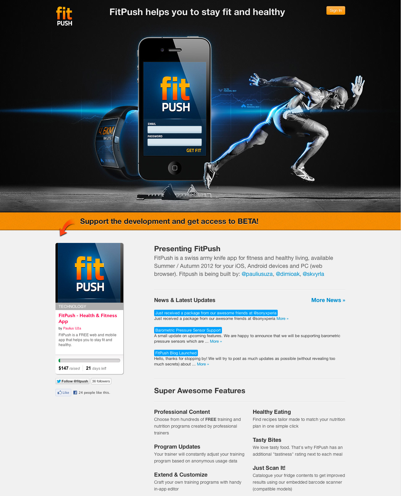 FitPush Website Screenshot