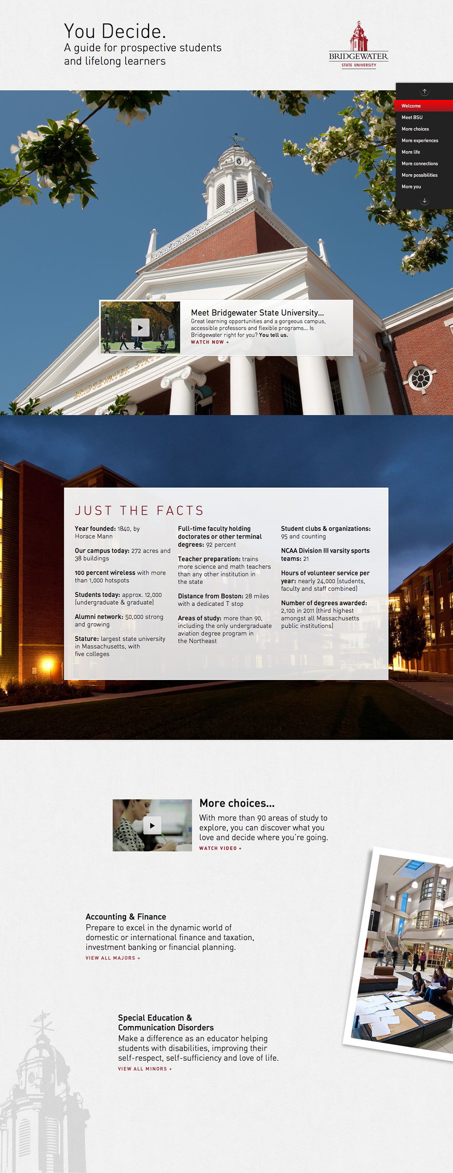 You Decide. | Bridgewater State University Website Screenshot