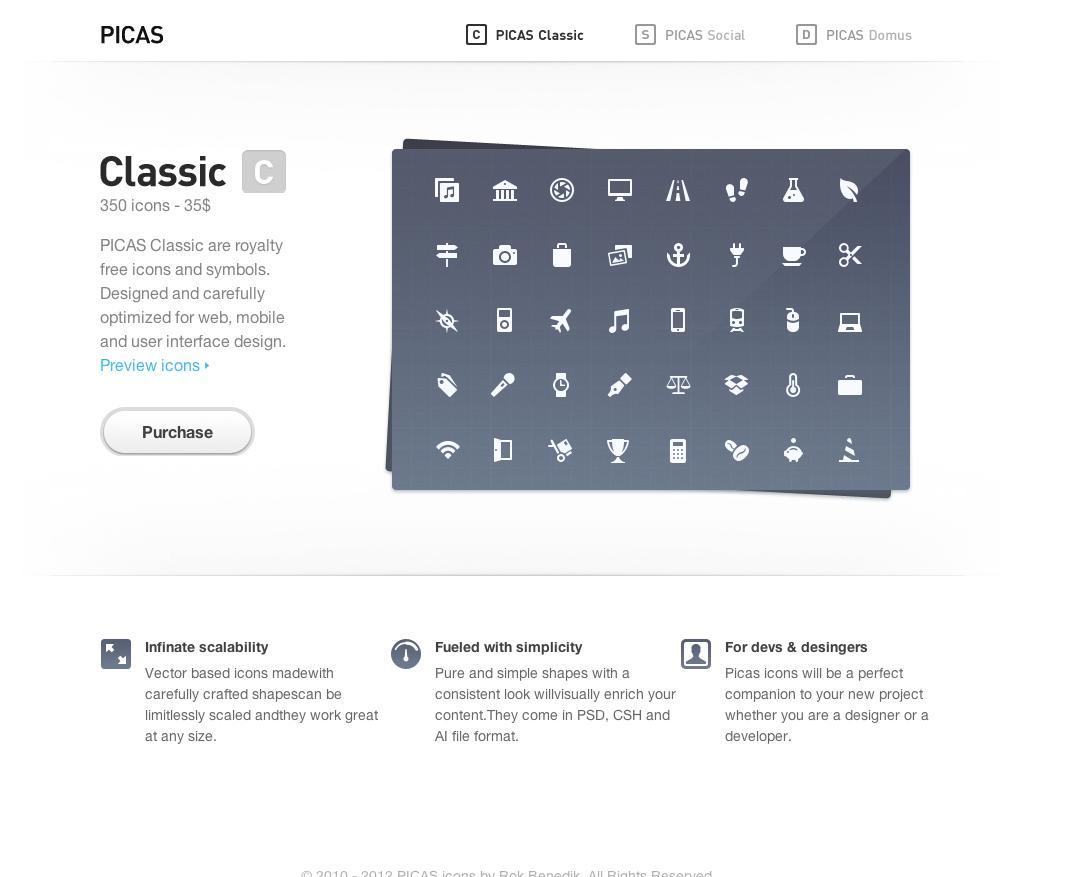 PICAS Icons Website Screenshot