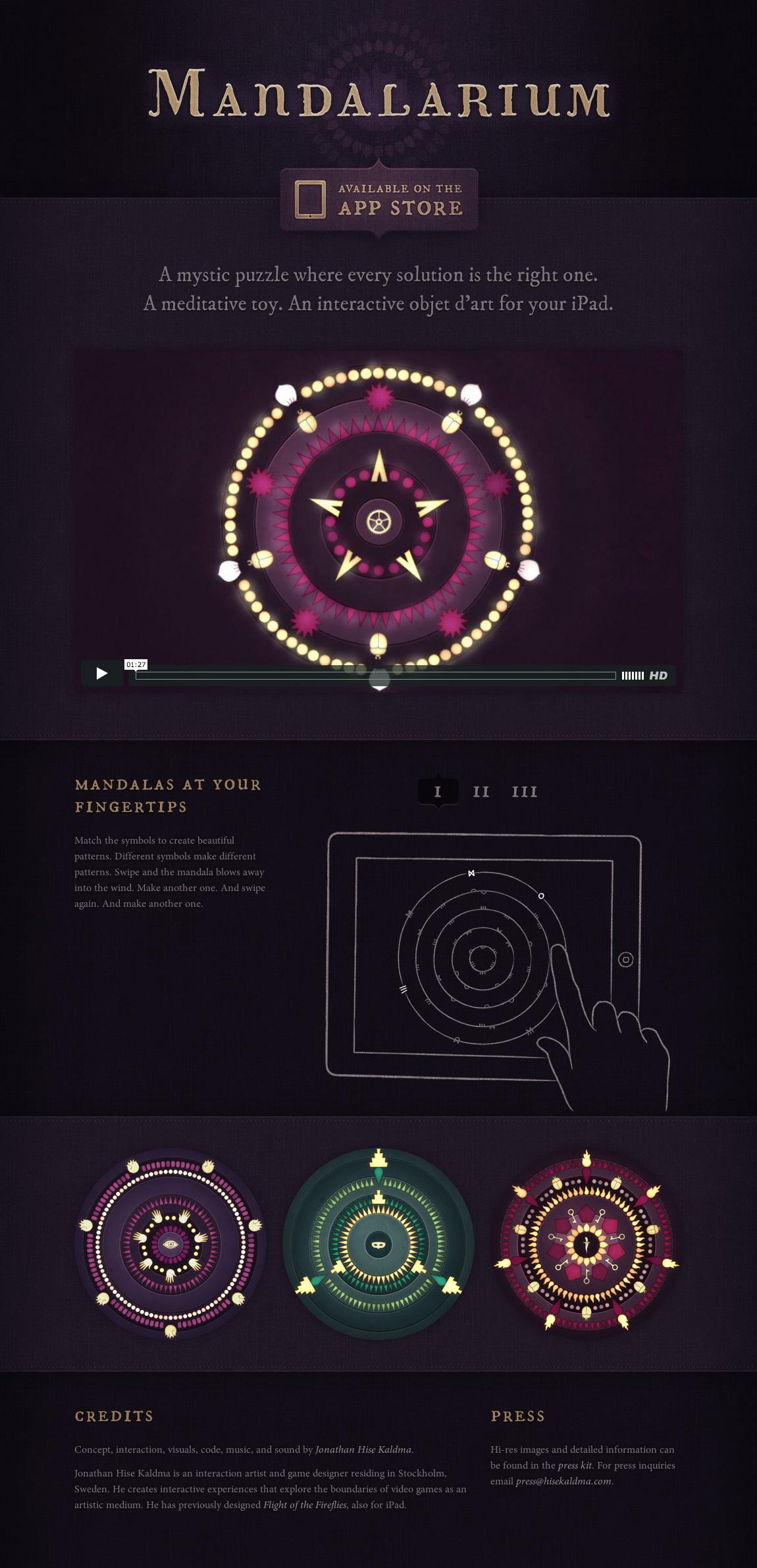 Mandalarium Website Screenshot