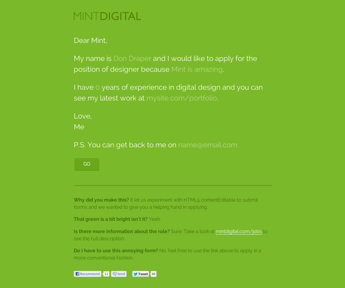 Mint DIgital – New Designer Website Screenshot