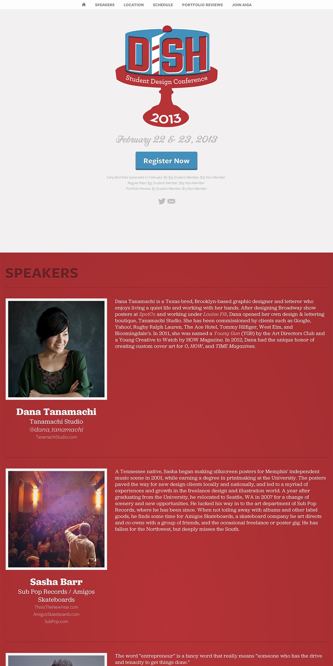 AIGA Dish Conference 2013 Website Screenshot