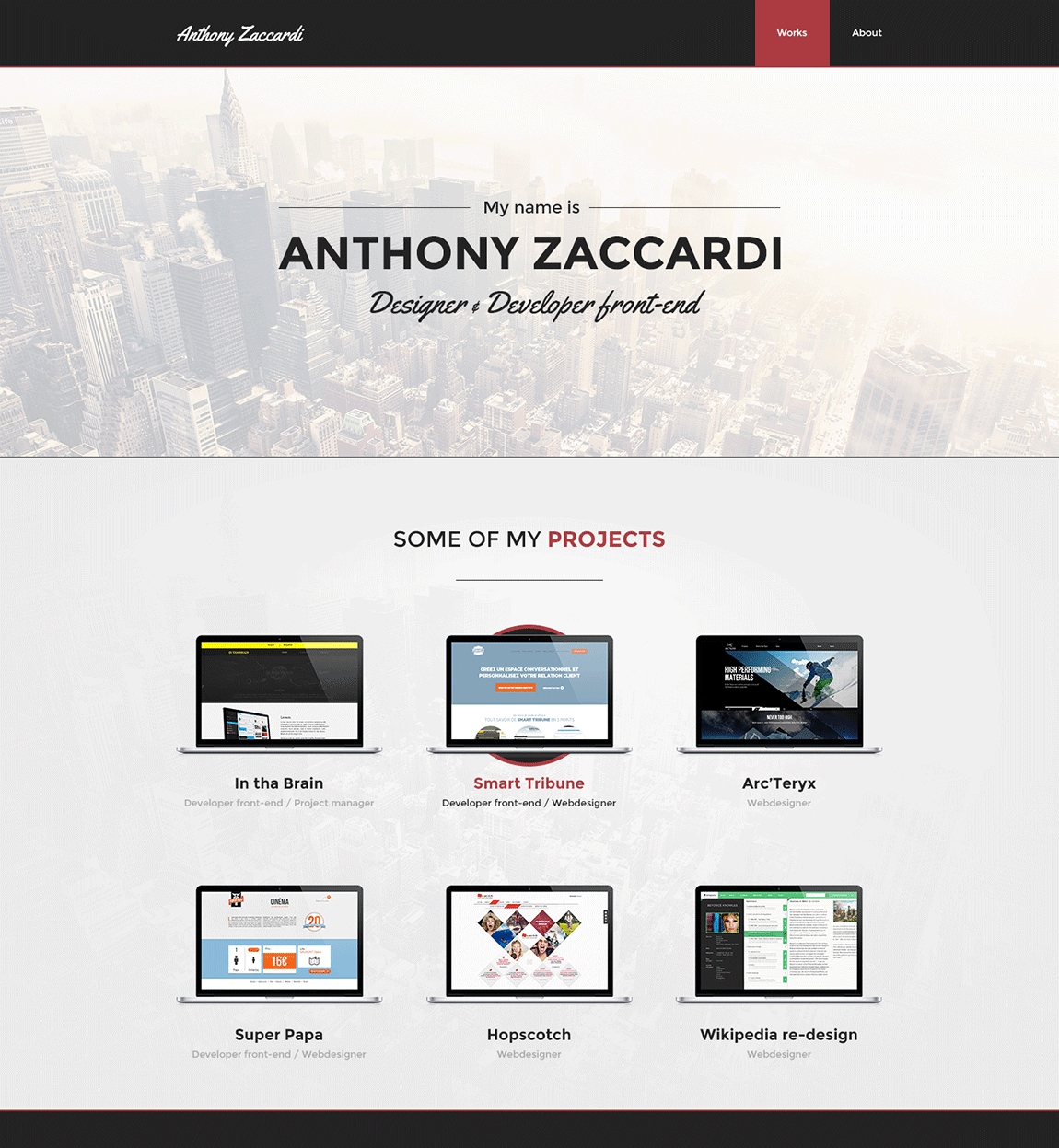 Anthony Zaccardi Website Screenshot