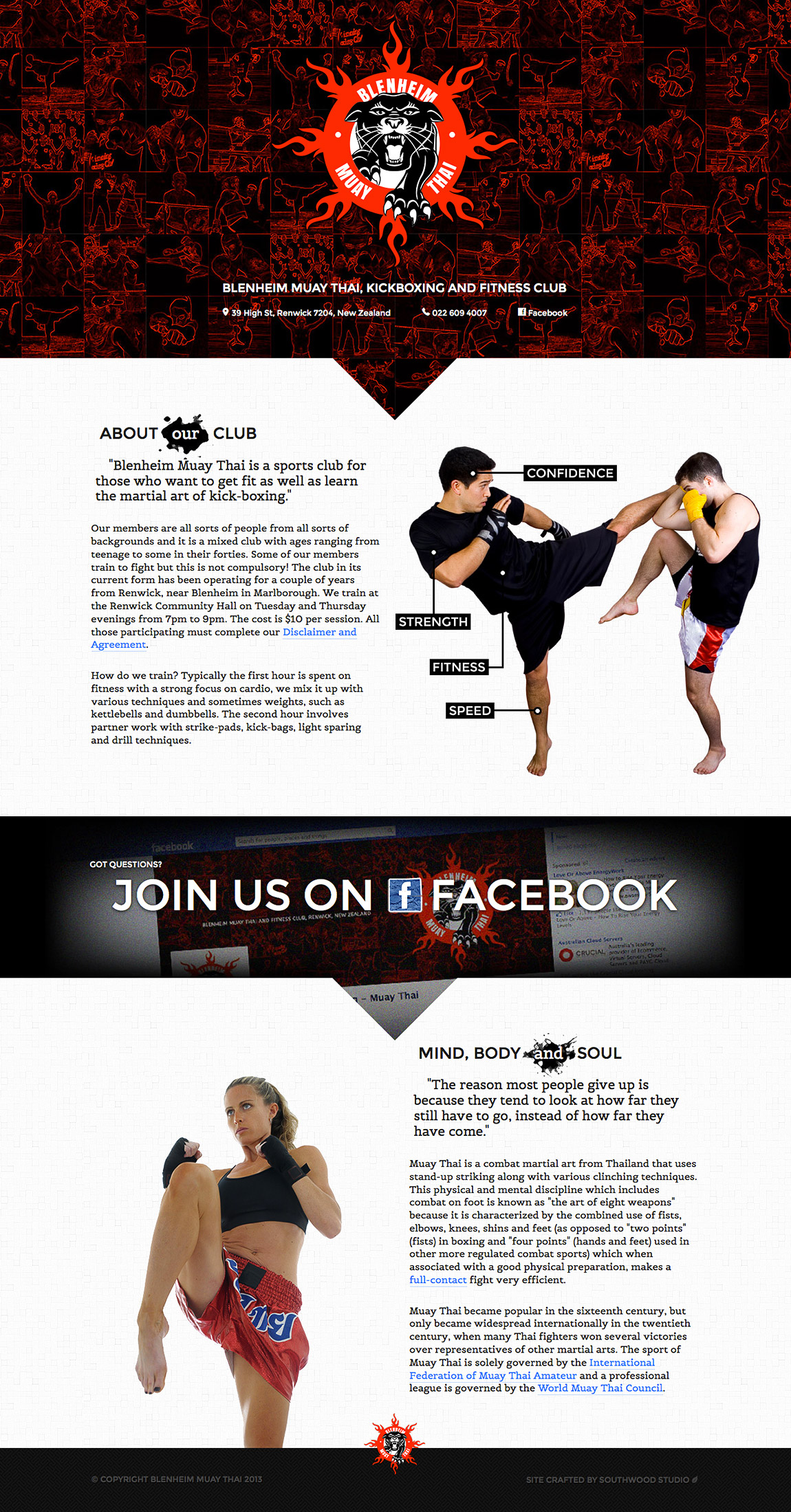 Blenheim Muay Thai Website Screenshot