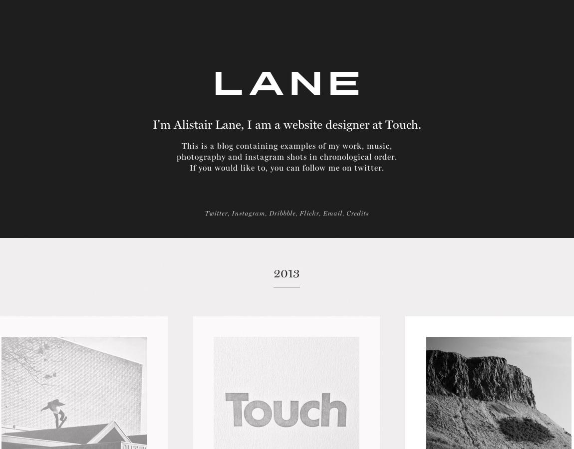 Alistair Lane Website Screenshot