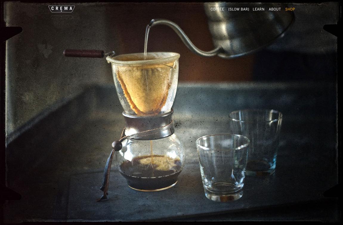 CREMA, a coffee brewtique Website Screenshot