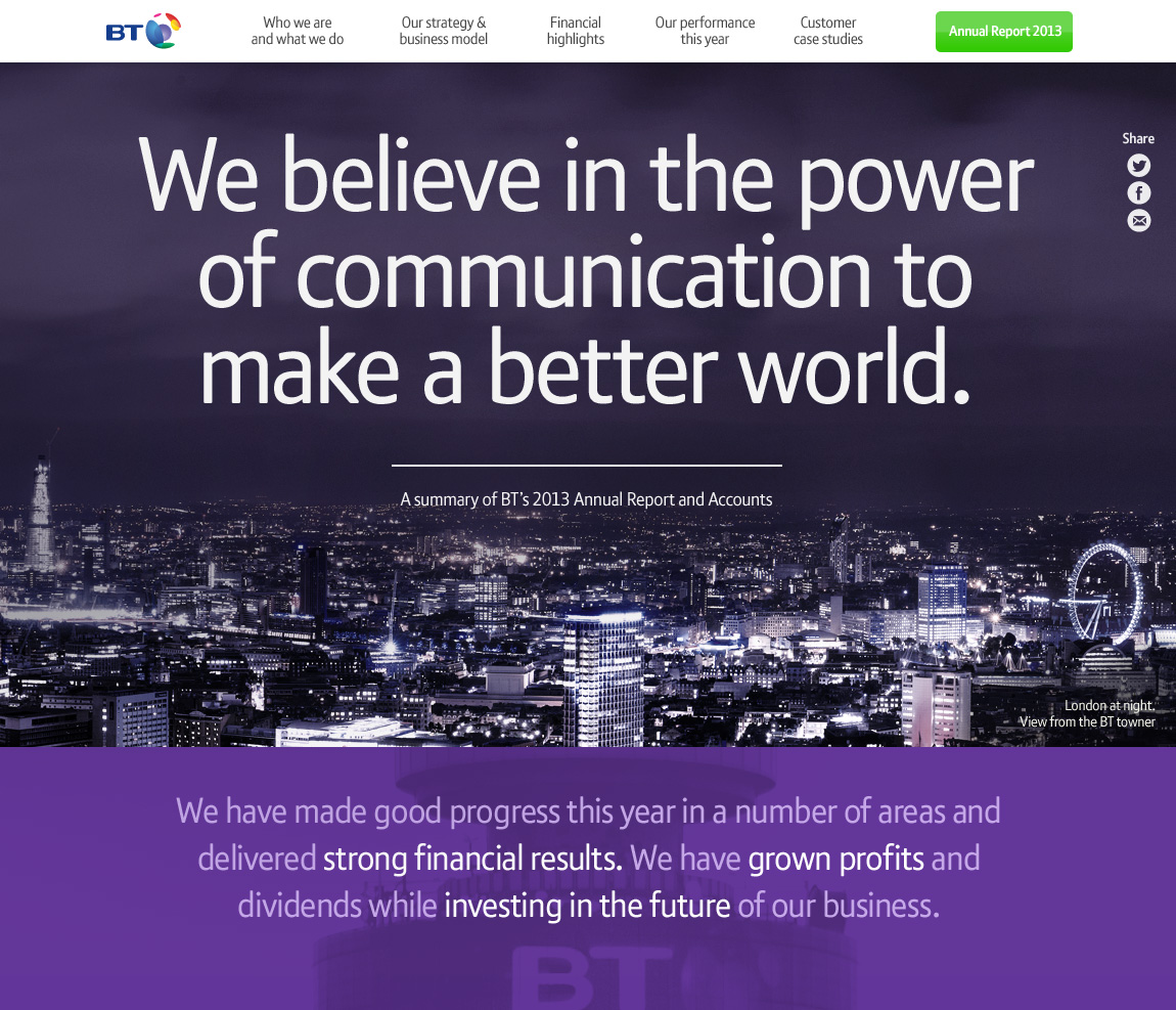 BT's 2013 Annual Report Summary Website Screenshot
