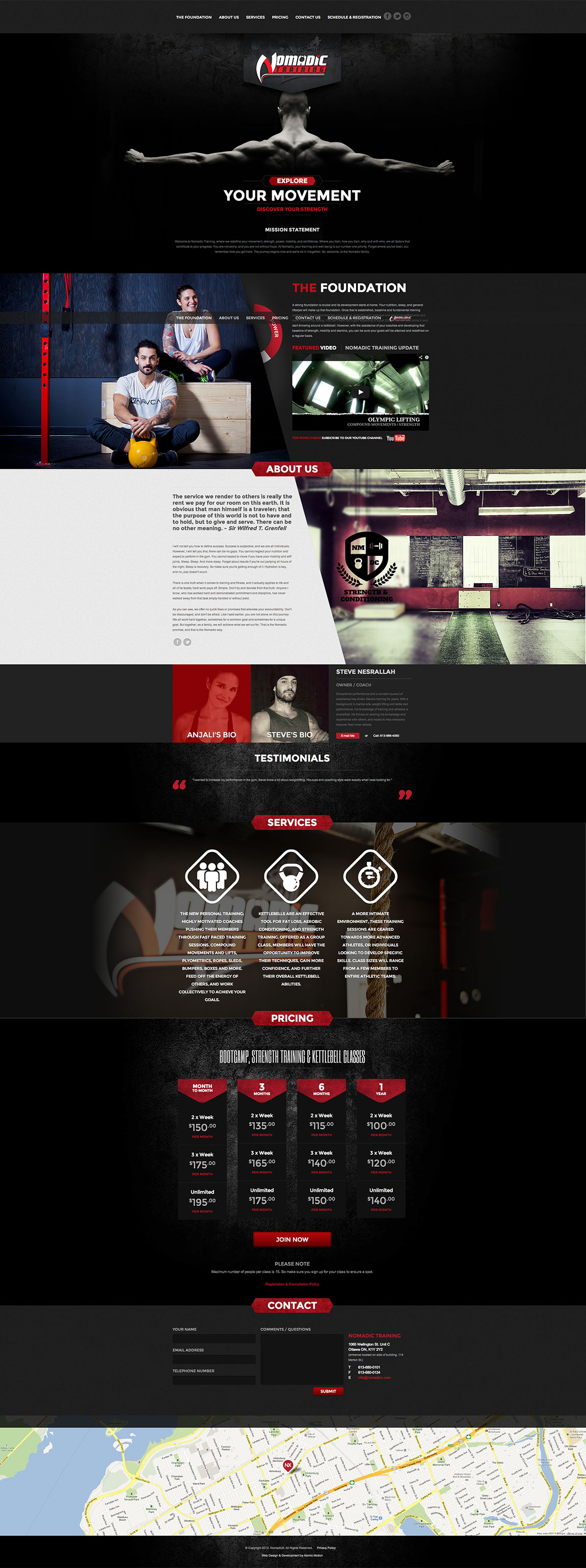 Nomadic X Training Website Screenshot