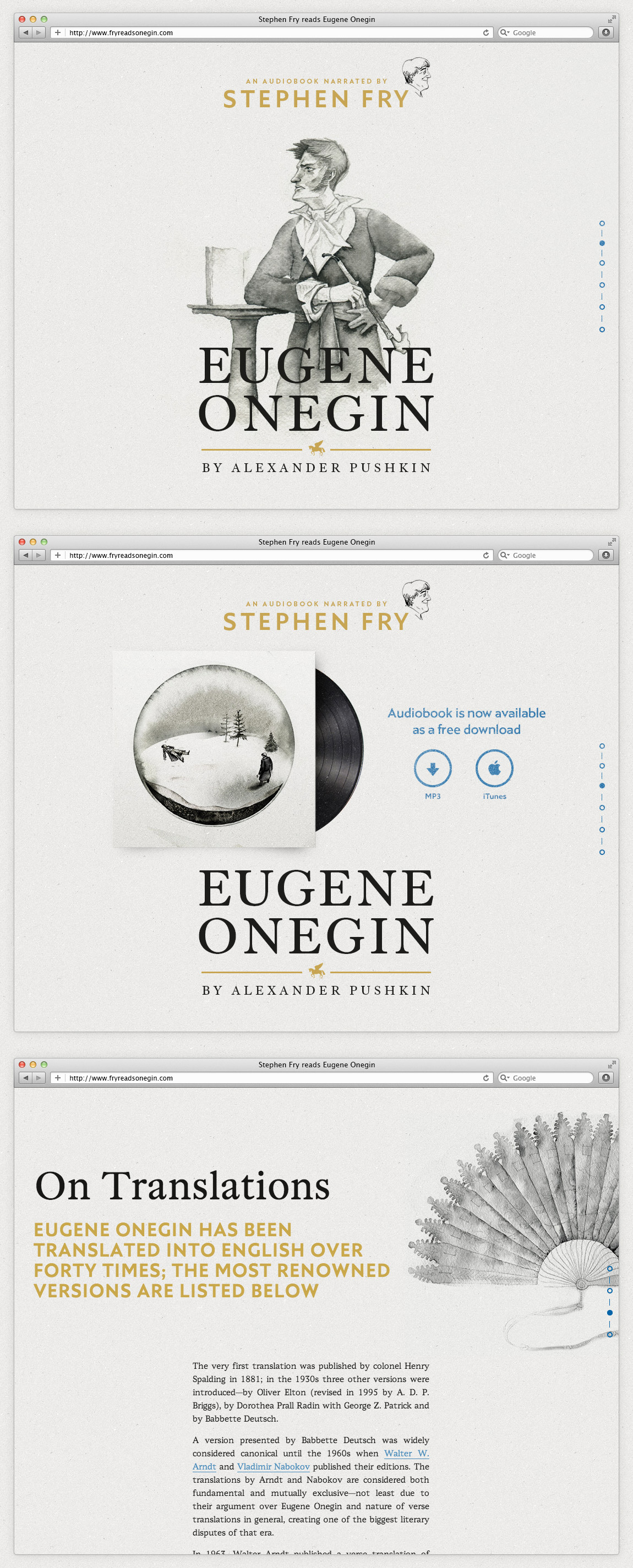 Fry reads Eugene Onegin Website Screenshot