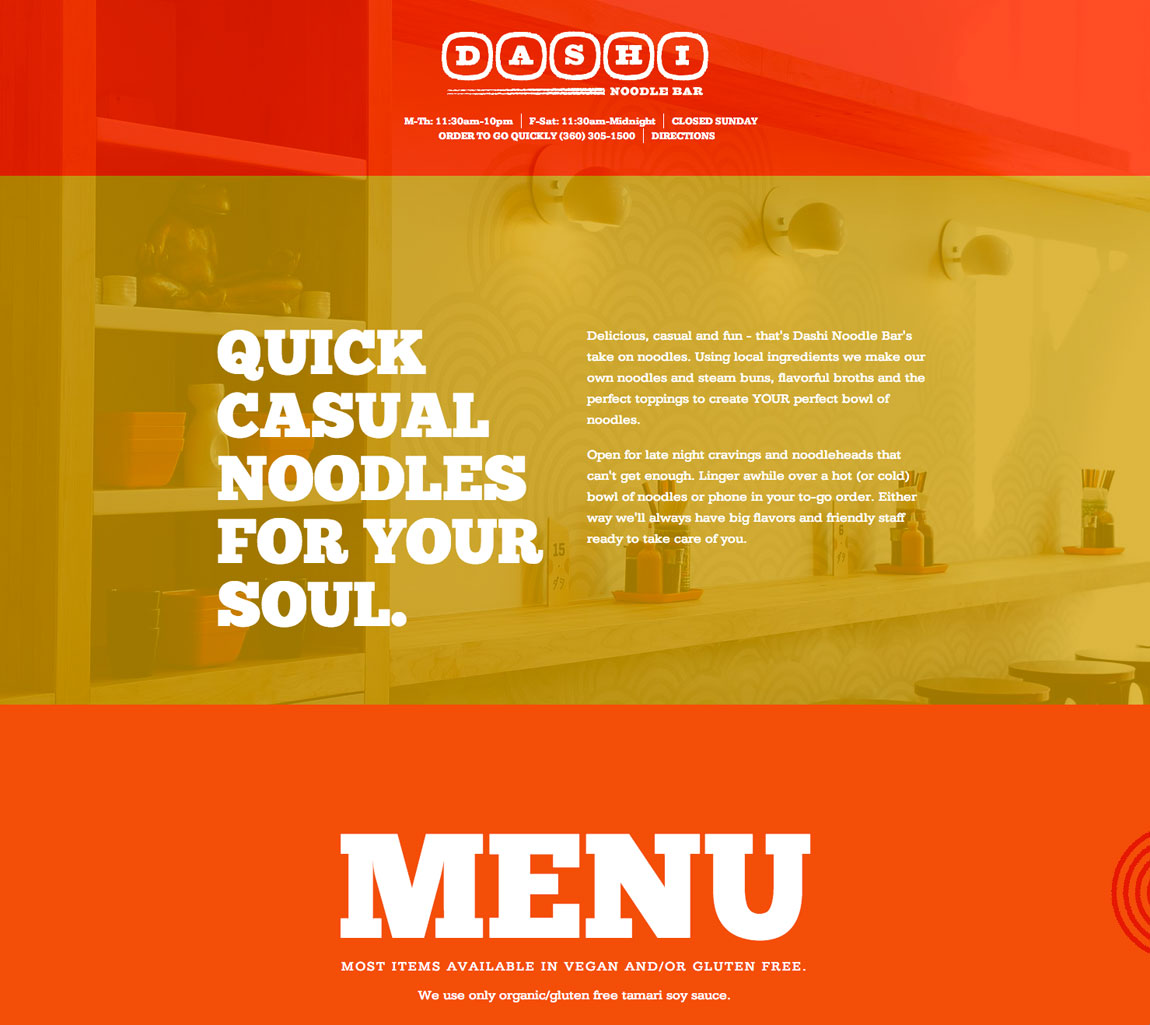 Dashi Noodle Bar Website Screenshot