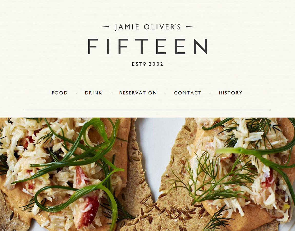 Jamie Oliver's Fifteen Website Screenshot