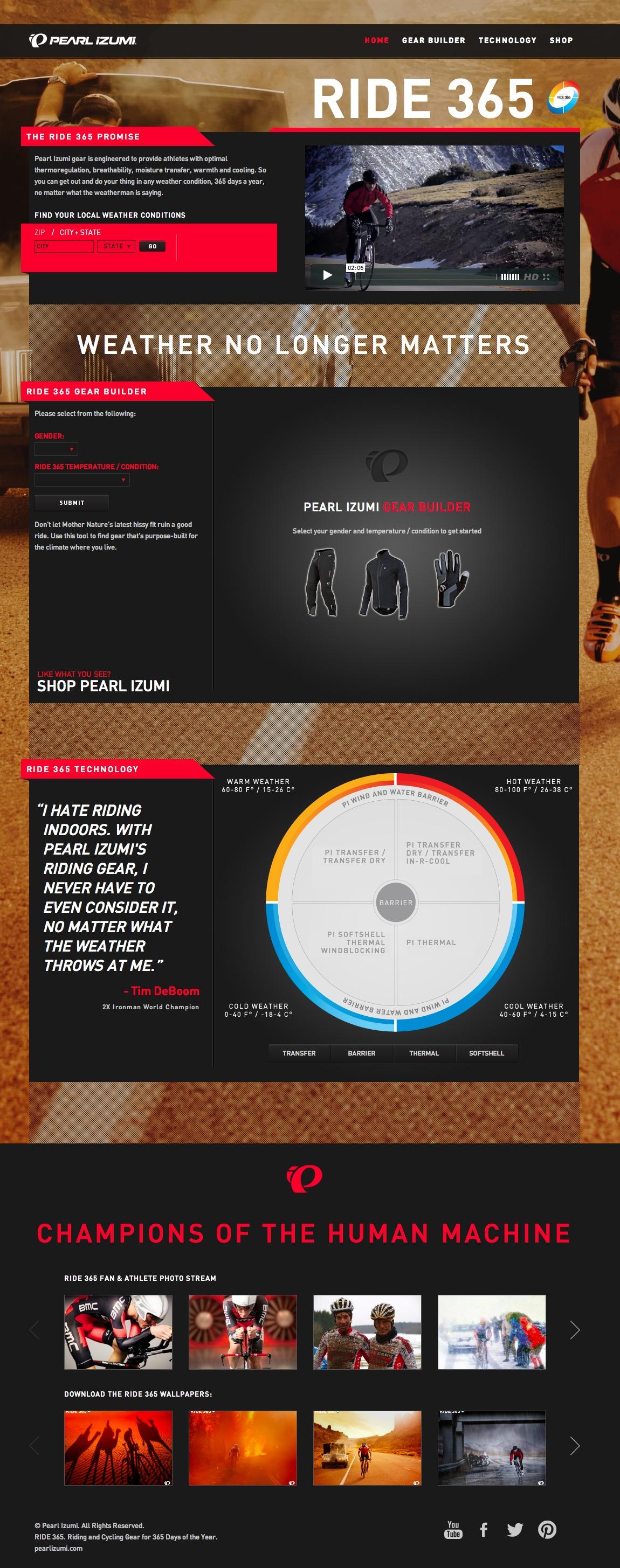 Pearl Izumi / Ride 365 Website Screenshot