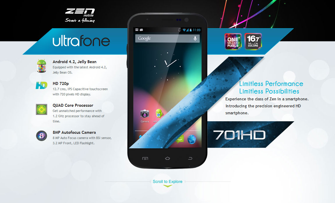 Zen Mobile – Ultrafone 701HD Website Screenshot