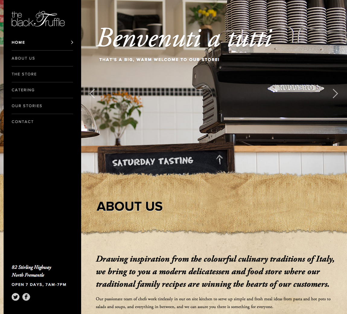 The Black Truffle Website Screenshot
