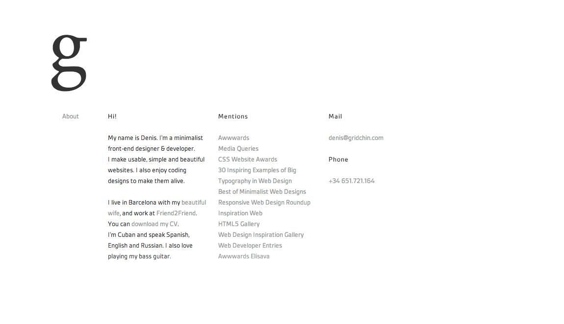 Denis Fernandez Gridchin Website Screenshot