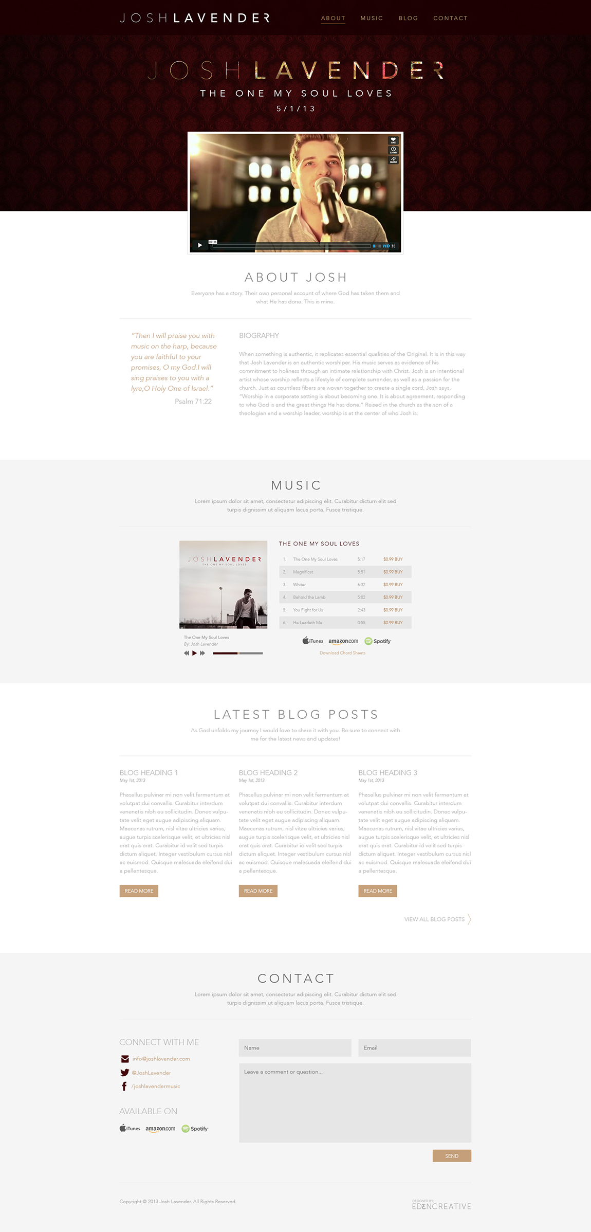 Josh Lavender Website Screenshot
