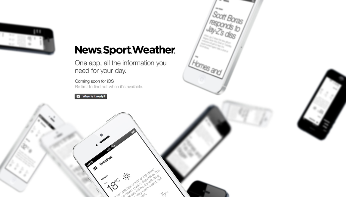 News.Sport.Weather. Website Screenshot